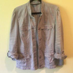Eddie Bauer Light grey linen jacket XL EUC